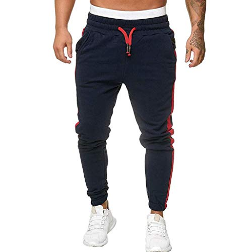 Price comparison product image Seaintheson Men's Sport Pants Long Trousers Tracksuit Fitness Workout Joggers Sweatpants Navy