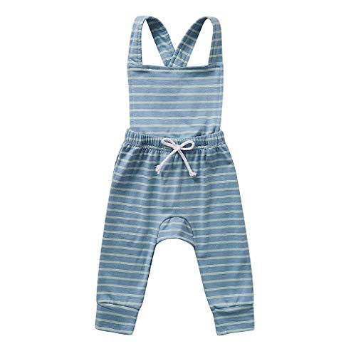 Newborn Kids Romper Jumpsuit,Crytech Soft Cotton Sleeveless Backless Ruffle Bib Pants Overalls Bodysuit Outfit Drawstring Stripe Sunsuit Clothes for Infant Toddler Baby Boy Girl (18-24 Months, Blue)