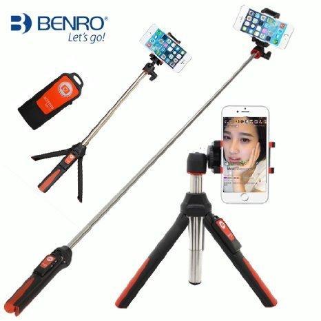 Benro Handheld & Tripod 3 in 1 Self-Portrait Monopod Extendable Phone Selfie Stick with Wireless Remote Shutter for iPhone X 8 7 6s Plus Samsung Galaxy Edge Gopro Hero 6 5 (Orange)