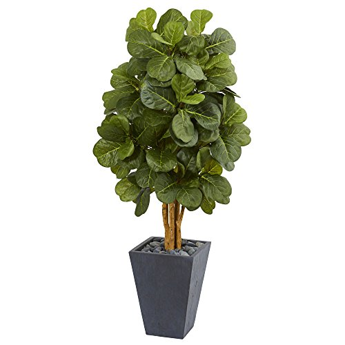 (Nearly Natural Fiddle Leaf Artificial Tree in Slate Planter, 5.5')