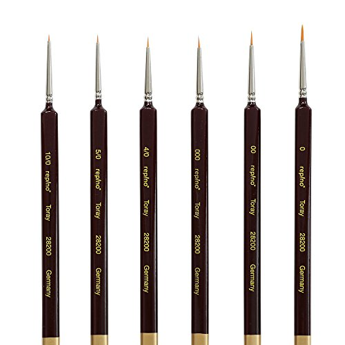 Repino Fine Detail Artist Brushes Set of 6 - Sizes 10/0, 5/0, 4/0, 000, 00, 0