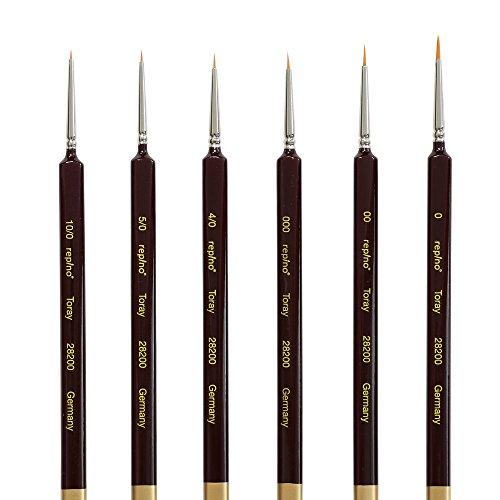 Repino Fine Detail Artist Brushes Set of 6 - Sizes 10/0, 5/0, 4/0, 000, 00, 0 (4 0 Paint Brush)