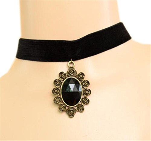 LUNA Womens Vintage Gothic Pendant Black Velvet Collar Bib Necklaces Jewelry