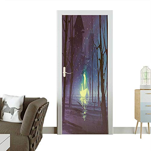 Door Sticker Wall Decals House Luminous Man and Dog in Boat in River Fireflies Before Haunted Easy to Peel and StickW23.6 x H78.7 INCH