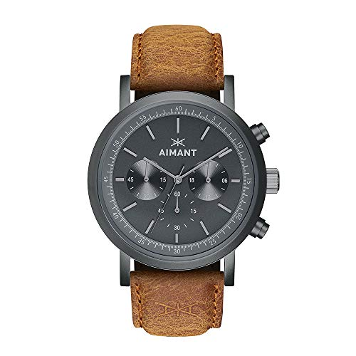 AIMANT Men's Watch Tokyo Gun Metal with Camel Leather Band GTO-220L5-88