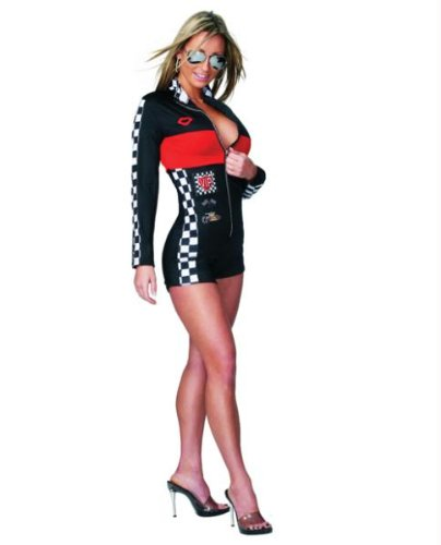 [Hot Racer Girl Jumpsuit, Black and Red, One Size Womens] (Girl Racer Halloween Costume)