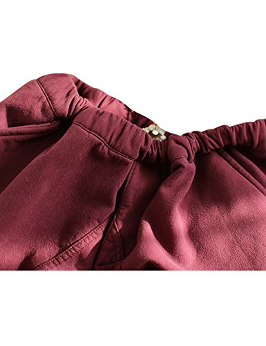 De Fleece Pantalones Rojo Youlee Oscuro Harén Elástica Cintura Invierno Mujeres Con wXZqZ1BxA