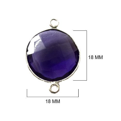 2 Pcs Amethyst Coin Beads 18mm silver by BESTINBEADS, Amethyst Hydro Quartz Coin Pendant Bezel Gemstone Connectors over 925 sterling silver bezel jewelry making supplies