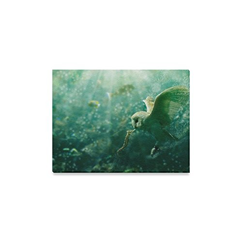 Wall-Art-and-Home-Decoration-Owl-and-Sea-Horse-in-The-Sea-Canvas-Art-Print-on-Canvas-20x24inches
