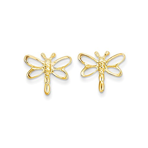 14k Yellow Gold Childs Dragonfly Post Earrings w/ Gift Box (0.4IN x 0.4IN ) - Dragonfly Yellow Earrings