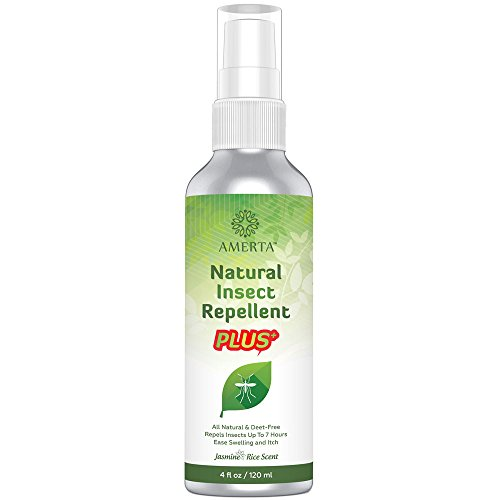 AMERTA Natural Insect Repellent PLUS, 4 oz - DEET FREE - Repels Mosquitoes, Gnats, Ticks & Other Biting Bugs - Relieves Itching and Swelling