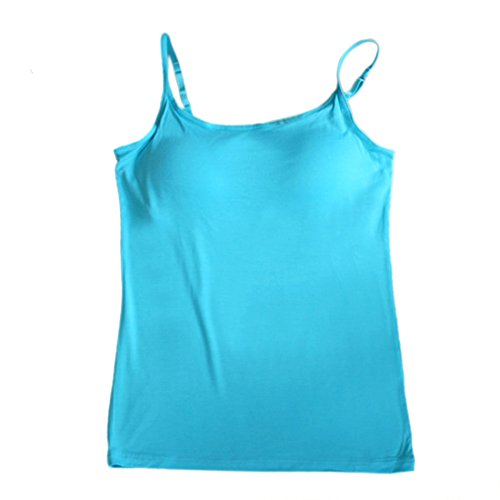 (BIFINI Women's Adjustable Padded Bra Camisole Top Sleeveless T-Shirt, Colors Turquoise)