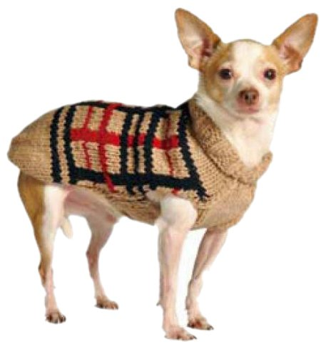 Chilly Dog Tan Plaid Dog Sweater, Large by Chilly Dog
