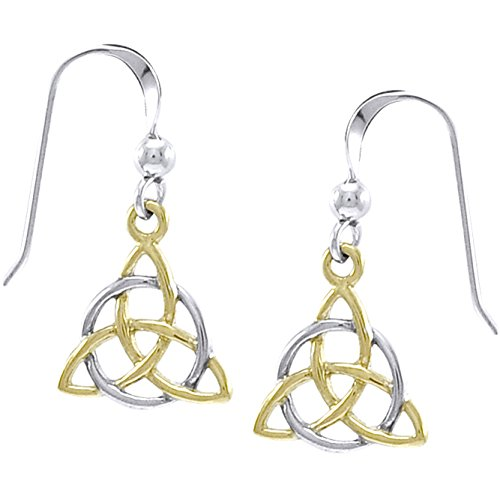 (Trinity Knot - Two Tone Triquetra 14k Gold Plated Sterling Silver Hook Earrings)