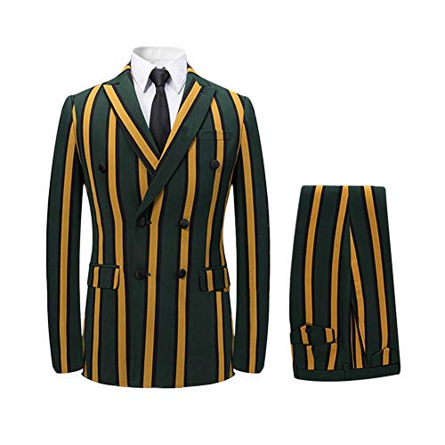 (Men's Colored Striped 3 Piece Suit Slim Fit Tuxedo Blazer Jacket Pants Vest Set (Yellow-DB, X-Small))