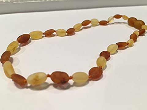 11 Inch Raw Cognac Carmel Lemon Bean Olive Baltic Amber Teething Necklace for Infant, Baby Drooling & Teething Pain, Growing pains Certified Twist-in Screw (Baltic Amber Olive Necklace)
