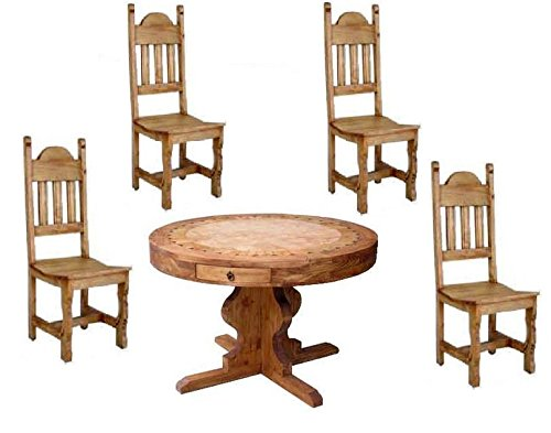 Round Marble Inlay Dining Group / Set