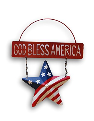 (Patriotic God Bless America Metal Hanging Sign - 8.75 inches x 10.75 inches (Red))