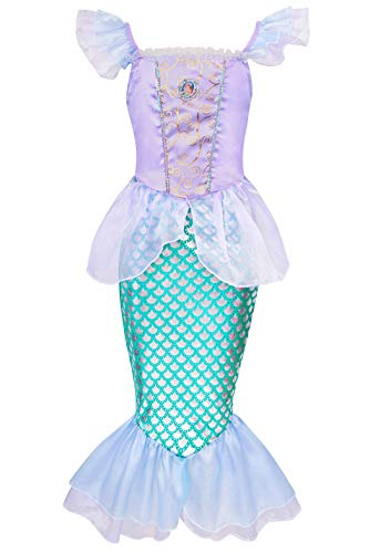 HenzWorld Little Girls Mermaid Princess Dress Ariel Party Queen Halloween Costume Baby Size 1-2 Years