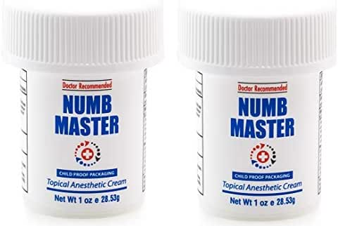 Numb Master 5% Lidocaine Topical Numbing Cream for Pain Relief, 2 Pack 2oz Max Strength Fast Acting Non Oily Local Anesthetic, Made in USA