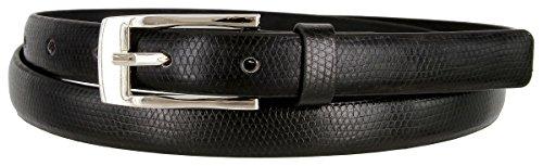 7045 Women's Skinny Lizard Embossed Leather Casual Dress Belt (Black, Medium)