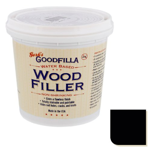 Water-Based Wood & Grain Filler - Ebony - 1 Quart by Goodfilla | Replace Every Filler & Putty | Repairs, Finishes & Patches | Paintable, Stainable, Sandable & Quick Drying