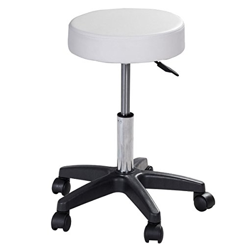 G&GOnline 1 PC adjustable Hydraulic Rolling Swivel Bar Stool Massage Spa Beauty Seat White by Unknown (Image #4)