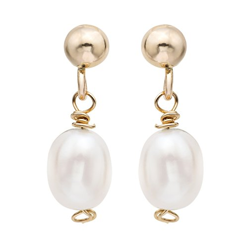 14k Gold Cultured White Rice Pearls and gold ball Kids Earrings - Birthday Gift for Girls