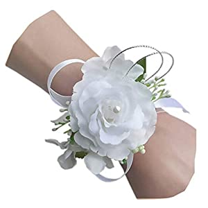 Arlai Set of 2,Wrist Corsage Wristband Roses Wrist Corsage for Prom, Party, Wedding White 47