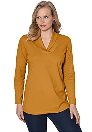 Roamans Women's Plus Size Shawl Collar Ultimate Tee Burnt Gold,S