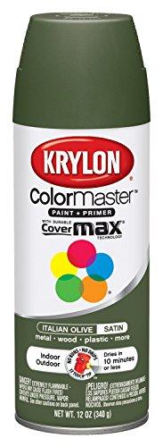 Olive Paint - Krylon 52202 K05352207 Italian Olive 'Satin Touch' Decorator Spray Paint - 12 oz. Aerosol