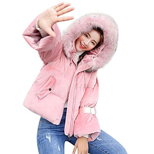 Abrigo Mujer Exterior Tamaño Mujer Para Abrigos Chaqueta Con Cálido Algodón Zhrui Invierno Grueso Medium Rosado Delgado Capucha color De Acolchado Moda dAYnaH