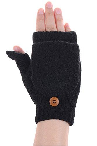 BYOS Women Winter Soft Warm Plush Fleece Lined Convertible Fingerless Knit Mittens Gloves Glittens w/ Thumb Flaps