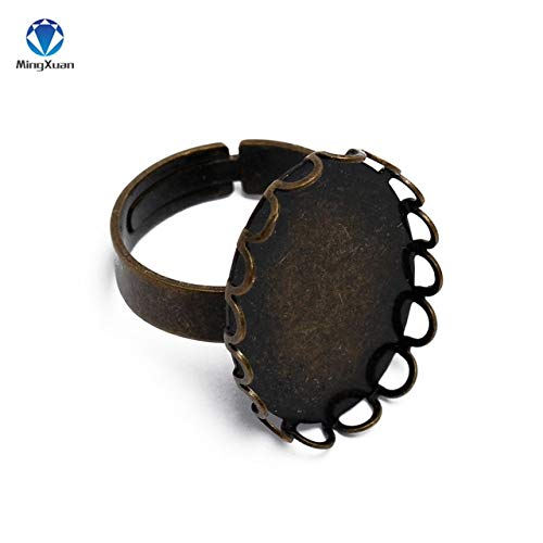 Laliva 10pcs/lot Copper Plate 18x25/30x40mm Adjustable Lace Open Ring Base Cabochon Settings Cameo Tray for Bezel Jewelry - (Color: Ring Base, Size: 30x40mm Base)