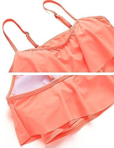 Sitengle Mujeres Rayada Cintura Alta Tejido Bra Bañador Bathingsuit Ropa Playa Swimwear Bikini Rosado