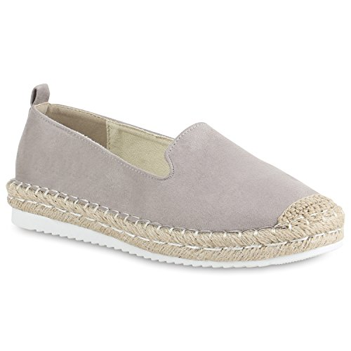 Stiefelparadies Damen Schuhe Espadrilles Bast Plateau Slippers Plateauschuhe Slip Ons Flandell Grau Avion