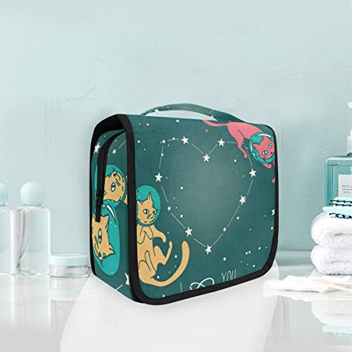 (Toiletry Bag Cat Astronaut Stars Hanging Organizer Bag Wash Gargle Bag Cosmetic Bag Portable Makeup Pouch with Hanging Hook)