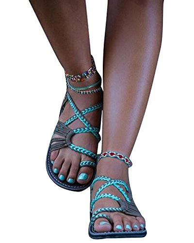 Maybest Flat Summer Sandals for Women Palm Leaf Green 8 B (M) US