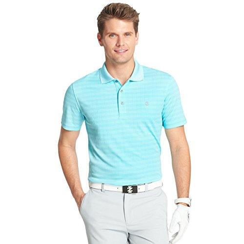 IZOD Men's Short Sleeve Jacquard Golf Polo, Blue Aquarius, Large