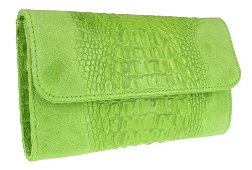 Clutch Suede Green HandBags Bag Girly Croc Light Leather Italian qg6az7