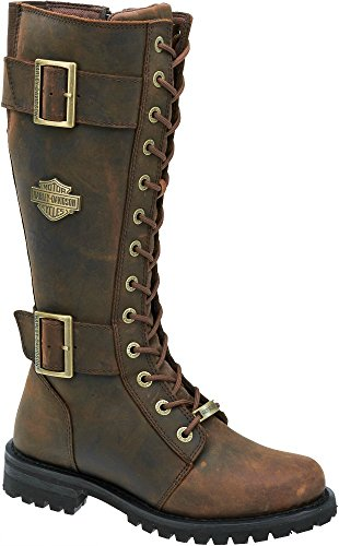 Harley-Davidson Women's Belhaven Knee-High Motorcycle Boots. D87083 (Brown, 7) - Harley Davidson Step