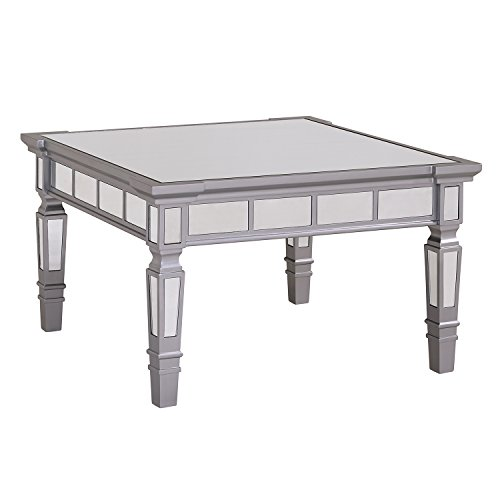 Silver Mirrored Coffee Table - Beveled Mirror Tiles w/Matte Finish - Glam Design