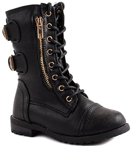 Link Little Girls Mango-71K Military Lace up Ankle Boots with Decorative Zipper