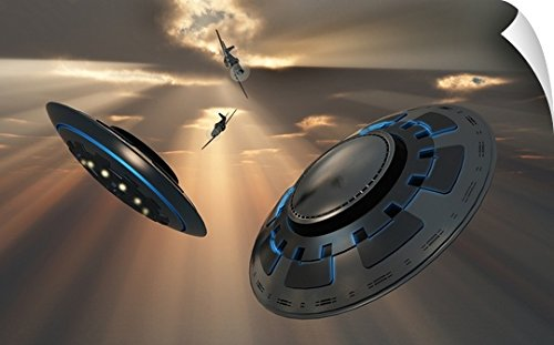 Mark Stevenson Wall Peel Wall Art Print entitled UFO's and fighter planes in the skies over Roswell, New Mexico by Canvas on Demand