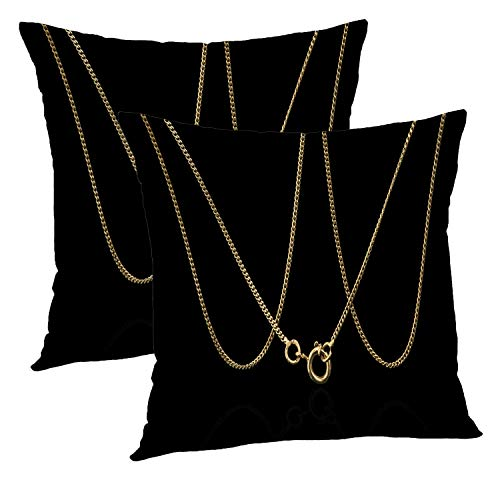 Batmerry Love Pillow Decorative Throw Pillow Covers 18x18 Inch Set of 2, Unique Gold Necklace Black Showing Yellow Necklace Double Sided Square Pillow Cases Pillowcase Sofa -