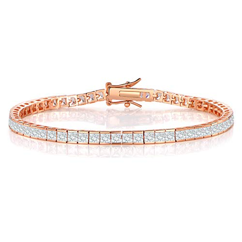 (GMESME Rose Gold Plated Square Pricess Cut Cubic Zirconia Classic Tennis Bracelet 7.5)