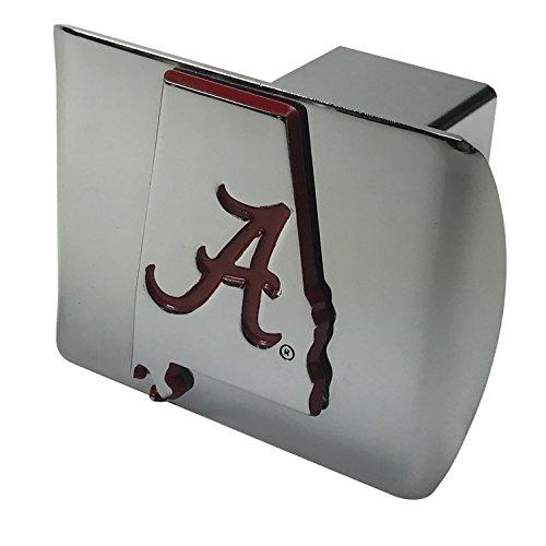 University of Alabama METAL State Shaped emblem (with Crimson trim) on shiny chrome METAL Hitch Cover