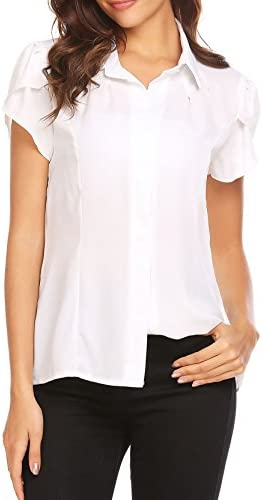 Gumod Women s Collared Pleated Short Sleeve Fitted Button Down Shirt Casual  Work Chiffon Blouse 73ade5a25