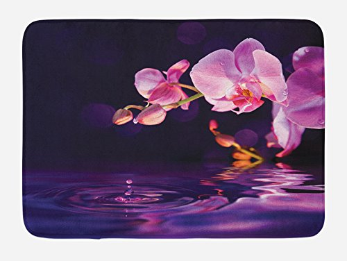 Flower Bath Mat by Lunarable, Purple Orchids and Drops in Water Fresh Nature Zen Scenery Fragrance Essence, Plush Bathroom Decor Mat with Non Slip Backing, 29.5 W X 17.5 W Inches, Dark Purple Pink