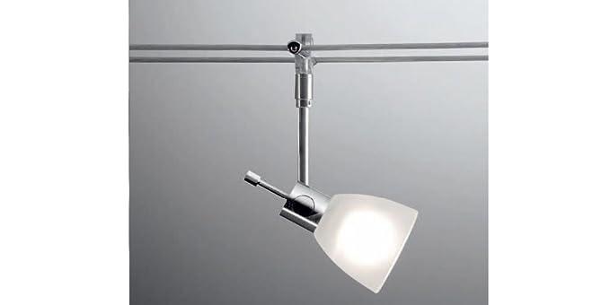 Faretto orientabile con vetro per sistema di illuminazione a cavi